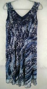 S.L. Fashions Blue,White and Grey Dress Size 6